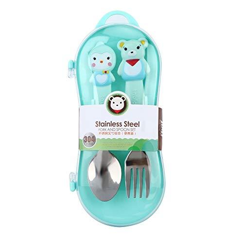 Juego de Tenedor y Cuchara para niños pequeños, 2 Piezas de Utensilios para bebés con Mango de Animales de Dibujos Animados sin BPA con Estuche de Transporte Cucharas de (Azul)