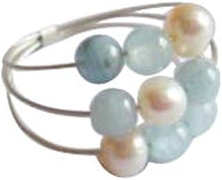 Gemshine - Aagperp - Bague pour femme - Argent Sterling 925 - Aigue-marine - Perle de culture - Blanche, Ringsize:50 (15.9)