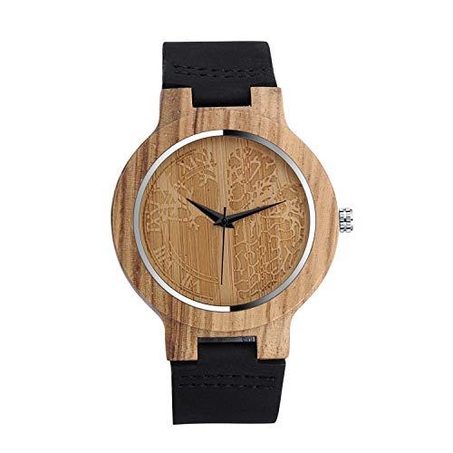 Infinito U-Moda Reloj de Madera de Bambú para Mujer y Hombre Reloj de Cuarzo con la Correa de Cuero Genuino Idea Regalo Navidad Pareja Diseño Árbol de la Vida
