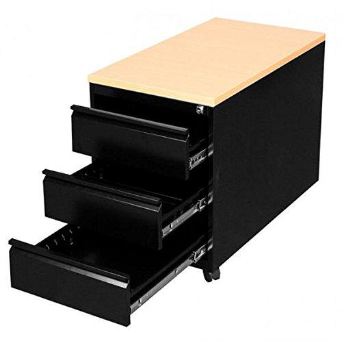 Profi Stahl Büro Rollcontainer Schrank Bürocontainer schwarz Maße: 620 x 460 x 790 mm (H x B x T) 505801 kompl. montiert und verschweißt