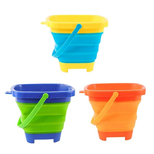 PQZATX 3PCS Foldable Bucket Foldable Pail Bucket Sand Buckets Silicone Collapsible Bucket for Kids Beach Camping 2L