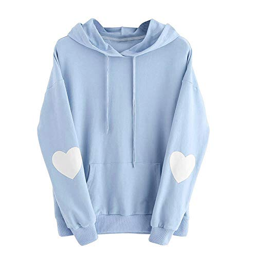 Xinantime Womens Casual Hoodies Long Sleeve Heart Print Hoodie Sweatshirt Jumper Hooded Pullover Tops Blouse Blue