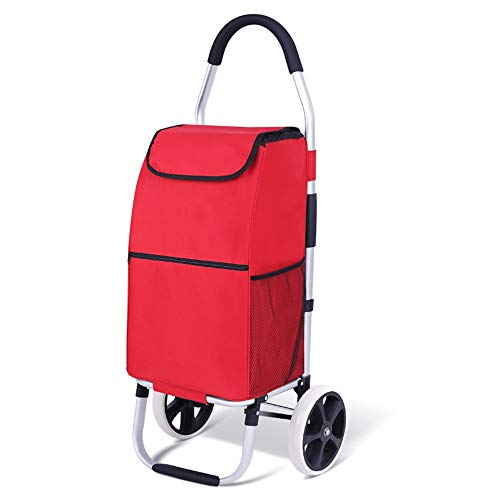 Wecnday-Home Shopping Cart Folding Shopping Cart Best Comfort Shopping Trolley Bag with Rolling Swivel Wheels Utility Grocery Cart with Waterproof Canvas Bag Shopping Cart Provide Convenience