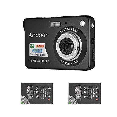 Andoer 18M 720P HD Cámara Digital Videocámara con 2pcs Baterías Recargables 8X Zoom Digital Anti-Shake 2.7 Pulgadas LCD Niños (Negro)