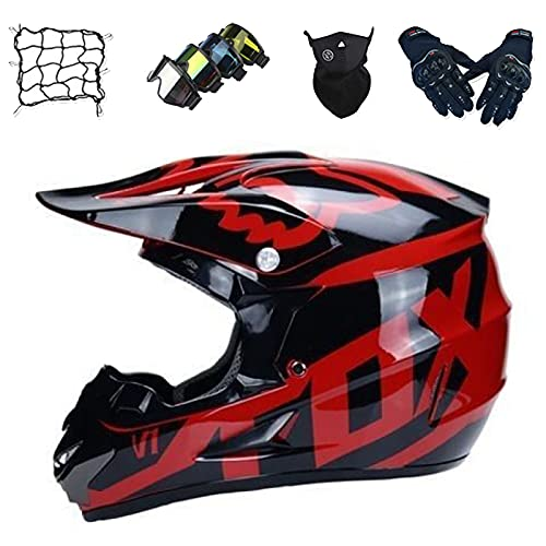 Aidasone Casco Moto Niños, YEDIA-01 Unisex Todo Terreno Quad Motocicleta Casco Cruzado Set de Casco de Motocross para Jóvenes y Adultos con Guantes/Gafas/Máscara/Red de Bungy - con Diseño Fox,XL