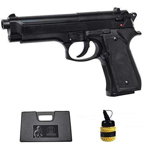 Pistola M92 (6MM) |Arma Corta de Airsoft ASG (Bolas de plástico) Tipo Beretta 92 + maletín PVC + biberón
