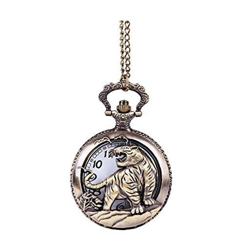 Frauen Taschen Analog-Quarz-Taschen-Uhr-höhle Geprägte Tiger-Muster-Halskette Hängende Taschen-Uhr-Silber-Weinlese-Ketten Halskette Taschenuhr L