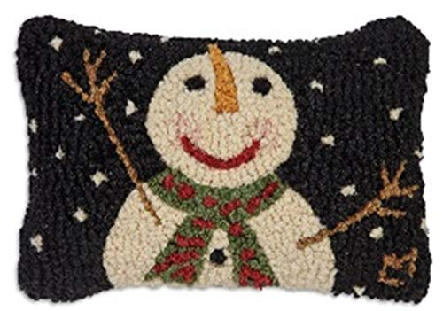 "Chandler 4 Corners Cheers Snowman 8""x12"" Hooked Pillow"