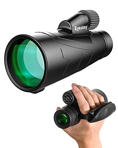 Eyeskey High Power Monocular with Tripod & Side Hand Strap for Adults | Bak4 Roof Prism | FMC Lenses | Waterproof Fogproof | HD Telescope for Wildlife Nature Watching Outdoor Hiking Hunting (12X50)
