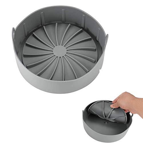 Olla antiadherente de silicona para freidora de aire, accesorios de horno multifuncionales para freidoras de aire de silicona aptas para alimentos (Gray, S)