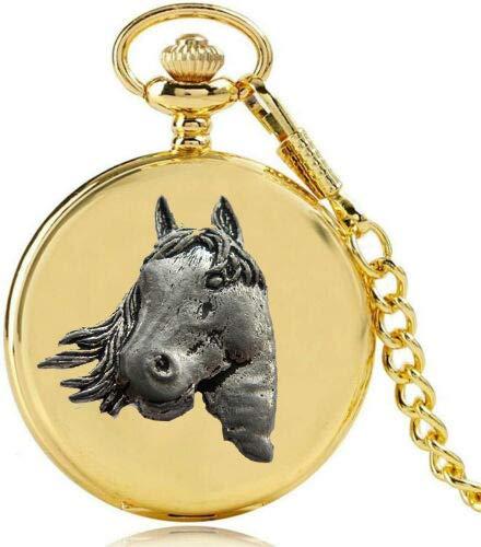 Reloj de bolsillo de cuarzo A1 con diseño de cabeza de caballo en una caja de oro pulido para hombre