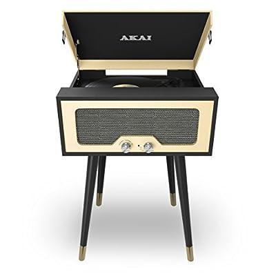 Akai Bluetooth Speaker and Turntable Player - Black/Cream
