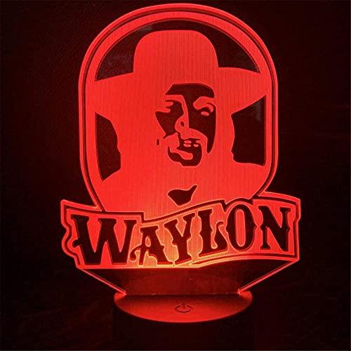 Waylon Jennings Lámpara de ilusión 3D para niños, luz de noche, cumpleaños, vacaciones, regalo de Halloween, decoraciones para niños, adolescentes y novios