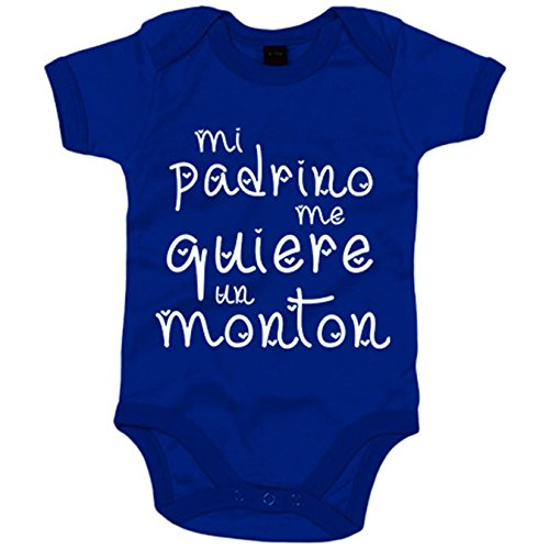 Body bebé Mi padrino me quiere un montón - Azul Royal, 12-18 meses
