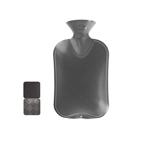 Fashy 6440 21 Wärmflasche ~ Thermoplast- Wärmeflasche Halblamelle, geruchsneutral, recyclingfähig, robust und langlebig, fugenloser, schmaler Flaschenhals ~ 2,0 Liter, anthrazit