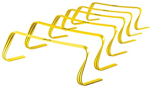 "SKLZ Speed Hurdles Pro Agility Hurdles, Sport & Gym Training Equipment, Improve Footwork, Balance & Speed, Black/Yellow, 6"", 9"" or 12"" Setting, Pack of 6"