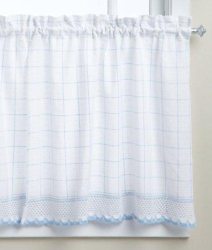 LORRAINE HOME FASHIONS Adirondack Tier Curtain Pair, 60 by 36-Inch, White/Blue