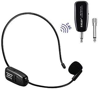 EASJOY 2.4G micrófono inalámbrico, la transmisión inalámbrica estable 40m,auriculares y de mano 2 en 1,para el amplificador de voz, altavoces,yoga