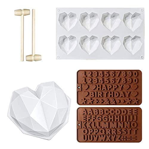 LERT 6 moldes de silicona con forma de corazón en 3D, para postres y chocolates, herramientas de horneado en la cocina