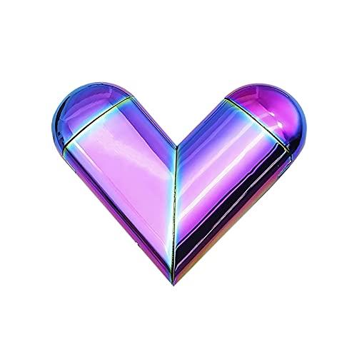 創造性人格ハート型ライターギフトデュアル形態ソフトフレーム&USB プラズマ冷や充電式ブタンガス回転変形折りたたみラブライターガス電動ハイブリッド、電子タバコライター 虹