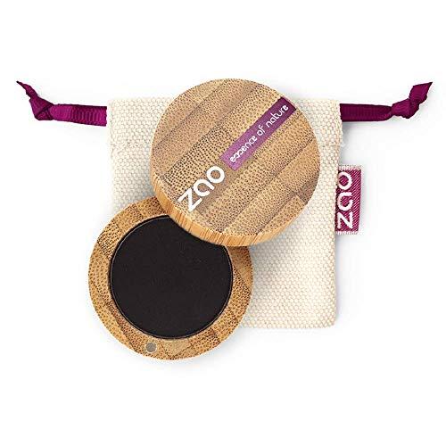 ZAO Matt Eyeshadow 206 schwarz Lidschatten Eyeliner Cake Pro Augenbrauenpuder in nachfüllbarer Bambus-Dose (bio, Ecocert, Cosmebio, Naturkosmetik)