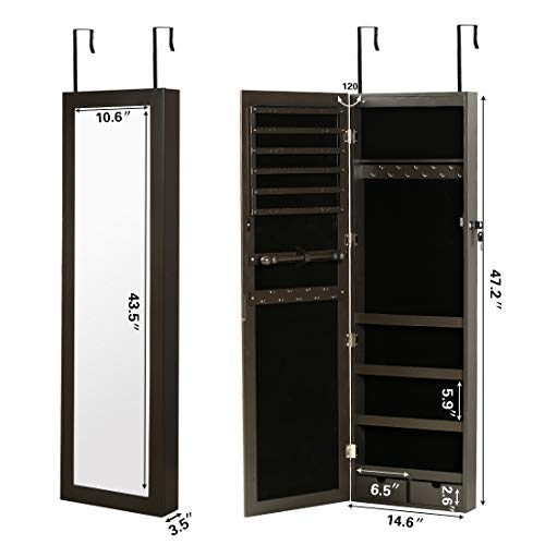 RISAR Jewelry Cabinet Wall/Door Mounted...