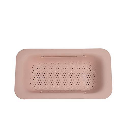 Fregadero de verduras retráctil cesta de drenaje rectangular fregadero de cocina para el hogar estante de drenaje fregadero fregadero almacenamiento-pink