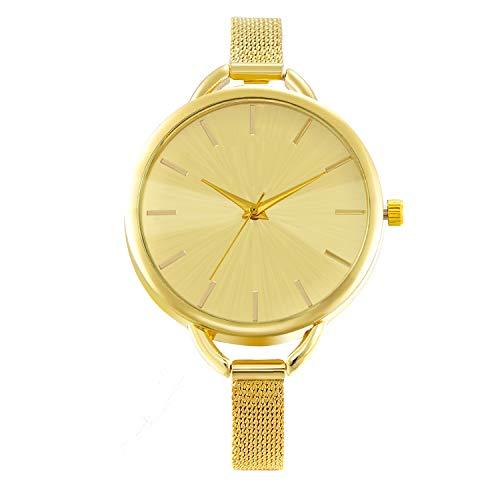 JewelryWe Elegante Analog Quartzwerk Damen Armbanduhr, mit Edelstahl Mesh Band Uhr, Legierung, Gold