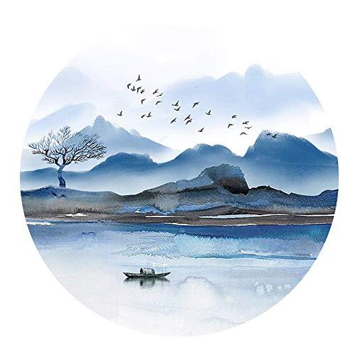 Nuokix Chinesische Tuschmalerei Stil Persönlichkeit Einfache Runde Alpine Tiefwasser-Boot Geese Muster Kristall Porzellanmalerei Murals Wohnzimmer Schlafzimmer Esszimmer Mural 60 * 60cm Elegante Fresk