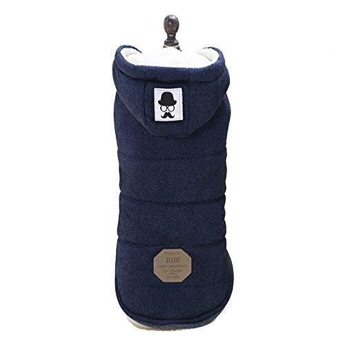 Vetement Chien/Chat Angelof Manteau Pull D'Hiver à Capuche Chaude Pour Choit Hoodies Jacket Accessoires Pour Chien Manteaux (L, Marine)