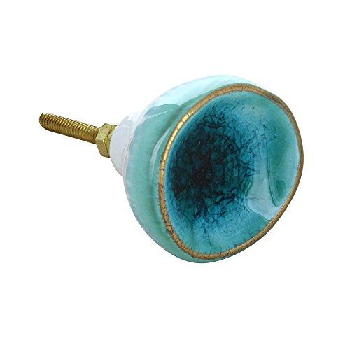 G Decor Poignée de porte vintage en céramique de Rhodes bleu marine - Style shabby chic