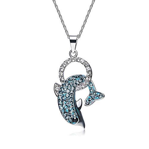 Angelazy Colgantes De para Mujer,Romántico De Moda Cute Chainless Delfines Verde Mosaico Lleno De Encanto De Forma Colgante para Damas Accesorios Joyas Regalo De Cumpleaños Pa