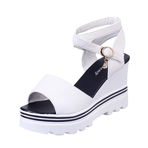 Luckycat Sandalias Mujer Verano 2020 Sandalias Mujer Cuña, Verano Plataforma Punta Cerradas Bohemias Zapatos De Tacón Alto Alpargatas De Playa Fiesta