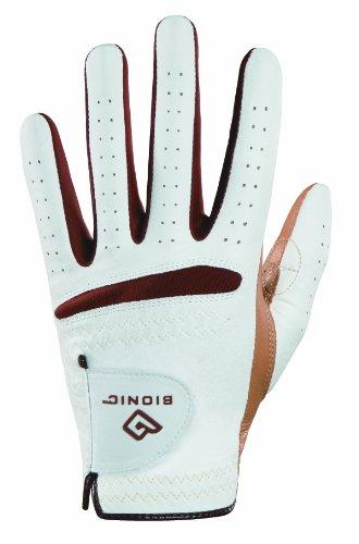 BIONIC Damen Golfhandschuh RelaxGrip Linke Hand Golf Handschuh, weiß/Caramel, klein