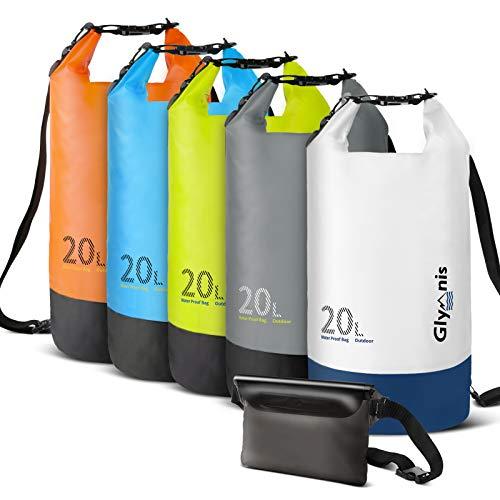 Glymnis Bolsa Estanca Bolsa Impermeable 10 L/20 L con Bolsa Cintura para Rafting Kayak Playa Senderismo Esquí Pesca Escalada y Camping (Blanca, 20 L)