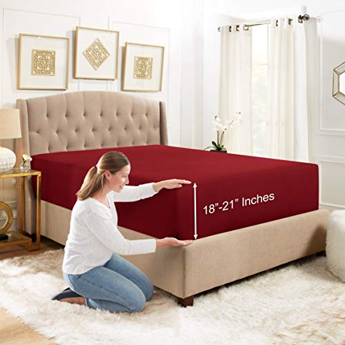 """Empyrean Bedding 18"""" - 21"""" Extra Deep Pocket Fitted Sheet for High Mattress- Hotel Luxury Silky Soft Double Brushed Microfiber Sheet - Hypoallergenic Wrinkle Free Cooling Bed Sheet, Queen - Burgundy"""