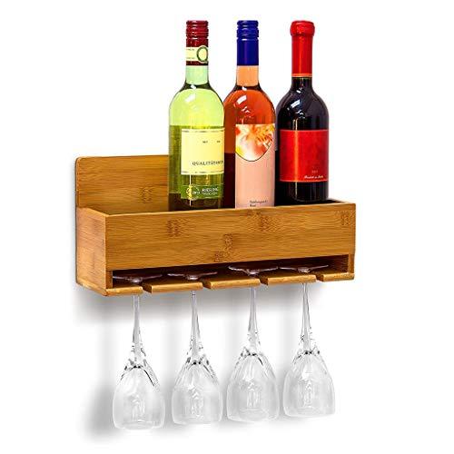 Weinregal, Flaschenregal Aus Bambus Mit Platz Für 4 Flaschen Und 4 Gläser Zur Wandmontage Hängeregal Holz Als Weinflaschenhalter Ablage