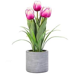 Silk Flower Arrangements Jusdreen Artificial Potted Tulips Flowers with Cement Vase Vivid Tulip Flowers Arrangement for Home Office Décor House Decorations(5 Pink Tulips)
