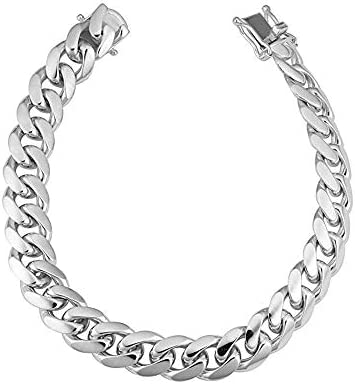 Sterling Silver Italian Solid Miami Cuban Link Chain Bracelet for Men 8 5MM 10 5MM 925 Sterling product image