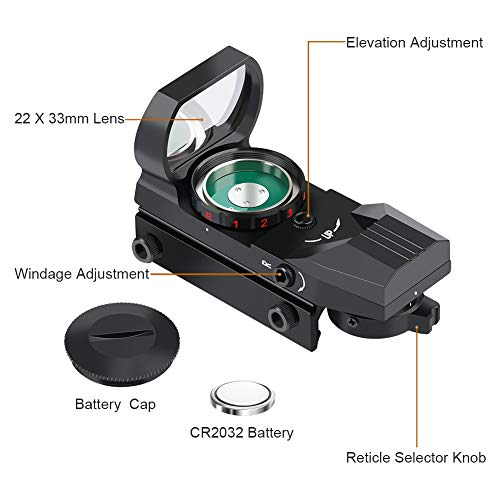 Feyachi Reflex Sight - Adjustable Reticle (4 Styles) Both Red and Green in one Sight