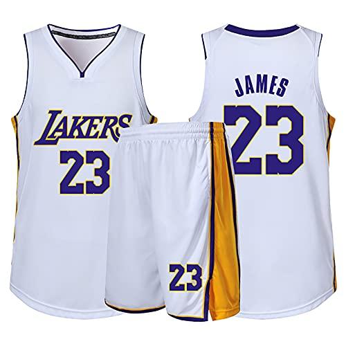 HAZYJT Camiseta de Baloncesto NBA Legend para Hombre - L.A. Lakers # 23 Lebron James Uniforme de Baloncesto Camisa Bordada Chaleco Shorts Set Swingman Jersey, White-L (160~165cm)