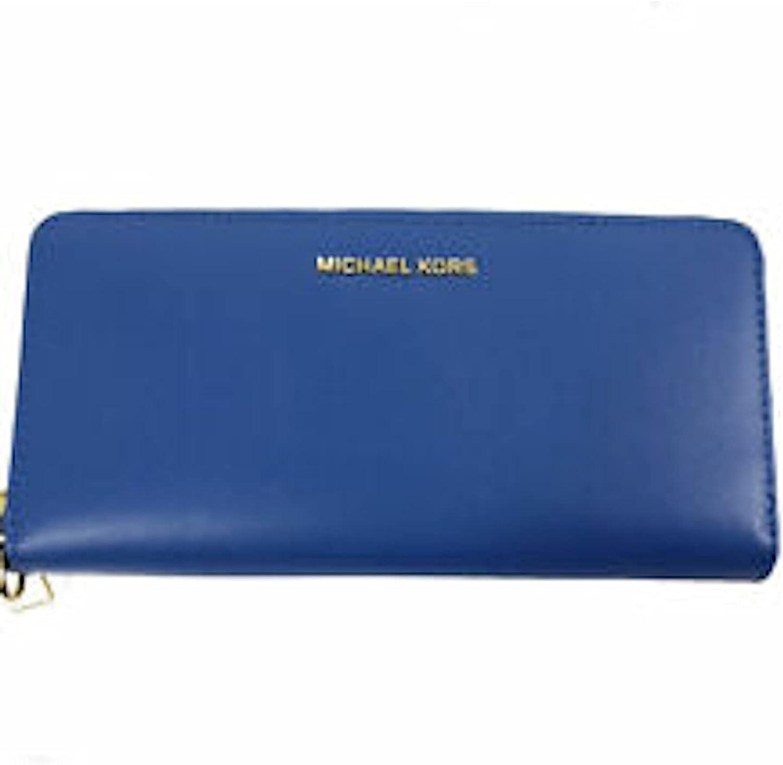 Michael Kors Jet Set Travel Blue Vintage Wallet Direct sale of manufacturer Ranking TOP10 Continental Gold