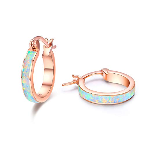 Sterling Silver Huggie Earrings,Small Hoop Earrings 925 Sterling Silver Cute Opal Earrings Circle Hinged Hoop Gift for Women Lady Stud Earring for Girls Kids (Rose Gold)