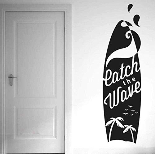 Etiqueta de la pared PVC removible etiqueta de la pared Catch Wave tabla de surf etiqueta de la pared calcomanía Coco Seagull silueta calcomanía deportiva dormitorio impermeable 16x57cm