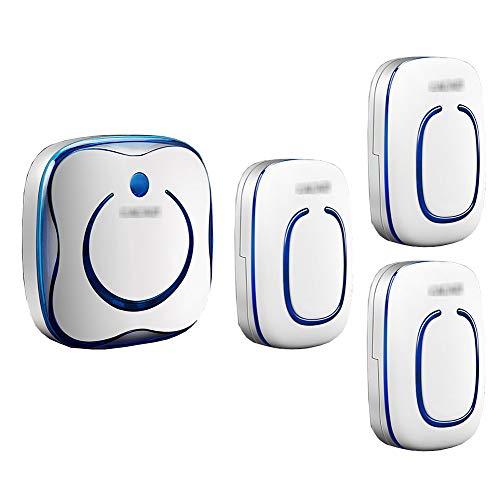 Draadloze plug-in deurbel met muurplug, intelligente mini-deurbel met 3 knoppen en 1 ontvanger Waterdichte deurbelkit 36 muziek en volume met 4 snelheden