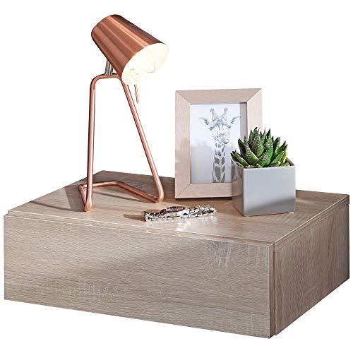 KS-Furniture Dream - Mesilla de noche para montaje en pared (46 x 15 x 30 cm, madera de sonoma, con cajón, para canapé de muelles)