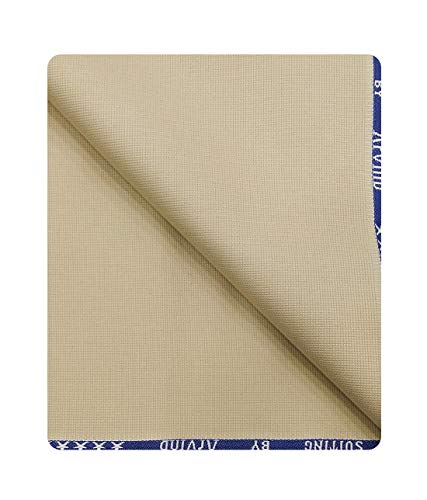 Arvind Men's Solid 1.30 m Trousers Fabric (Beige, Free Size)