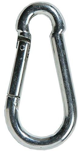 FD-Workstuff - Mosquetones de acero (10 unidades, 80 mm de largo, 8 mm de grosor, galvanizados, DIN 5299, ganchos con cierre a presión apoyado por resorte, ganchos de resorte)