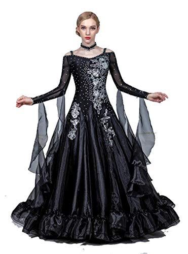Fhxr Vestido de baile de saln estndar nacional para mujer, traje de danza moderna, vestido de vals de baile social (color negro, tamao: XXXL)