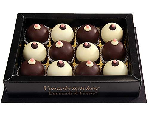 Original Salzburger Venusbrüstchen | Maroni-Nougatmasse in weißer oder dunkler Schokolade mit einem Stück Amarenakirsche | Gaumenfreude (12 Stück)